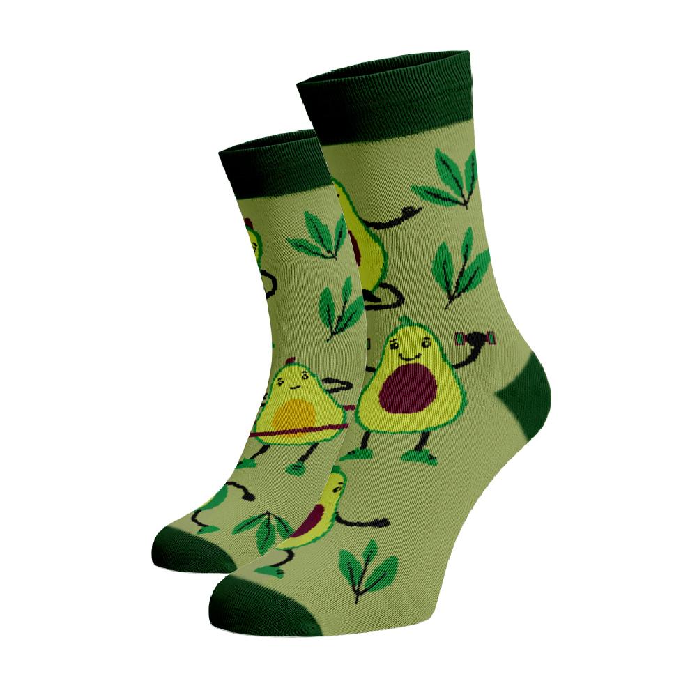 Levně Veselé ponožky Avokádo Zelená Bavlna 39-41