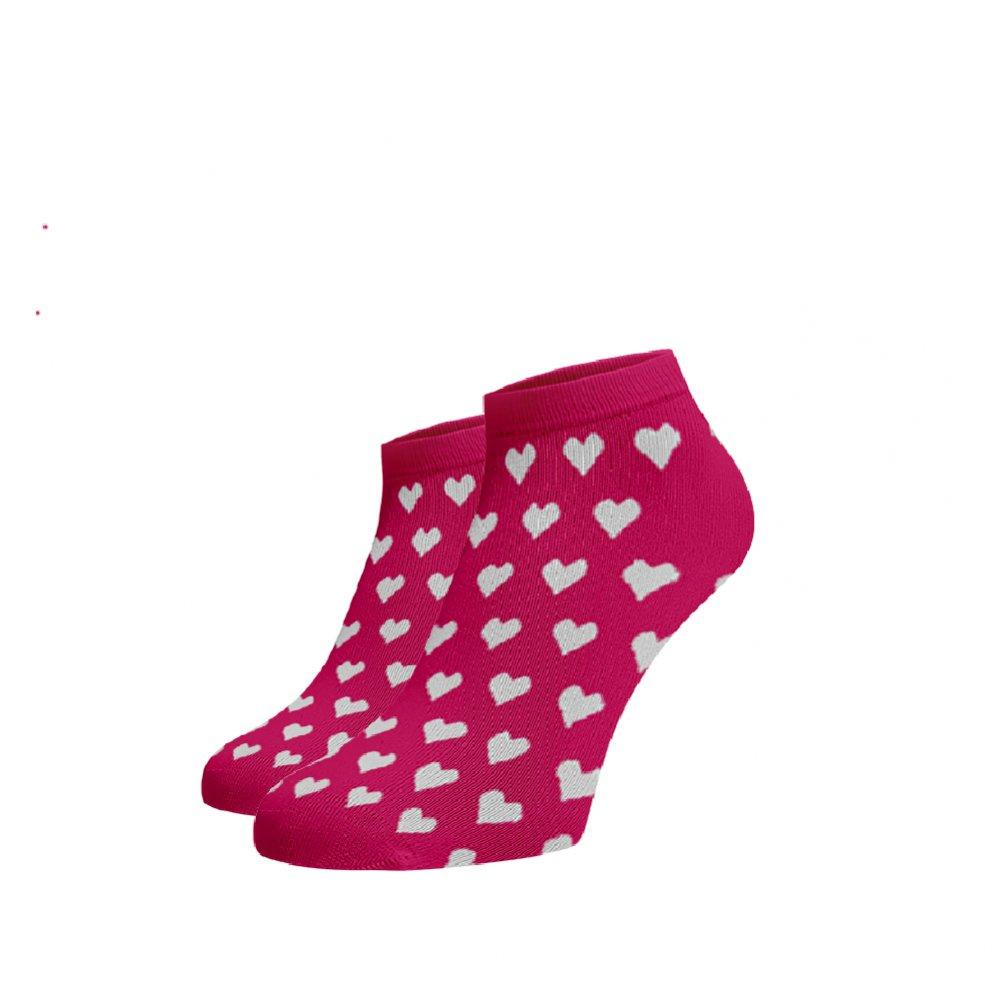 Levně Veselé kotníkové ponožky Srdíčka Růžová 42-44