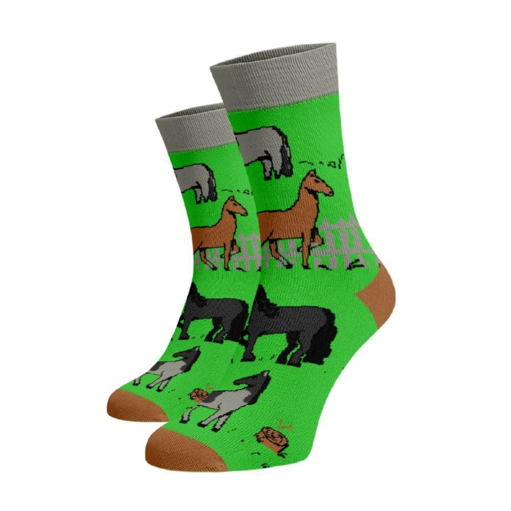 Levně Veselé ponožky Kůň Zelená Bavlna 45-46