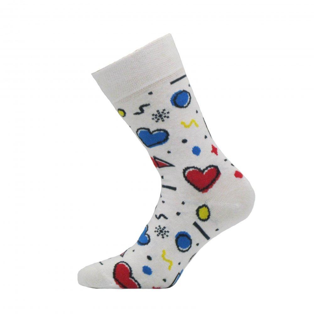 Levně Veselé ponožky Funny Bílá Vysoké ponožky 42-44