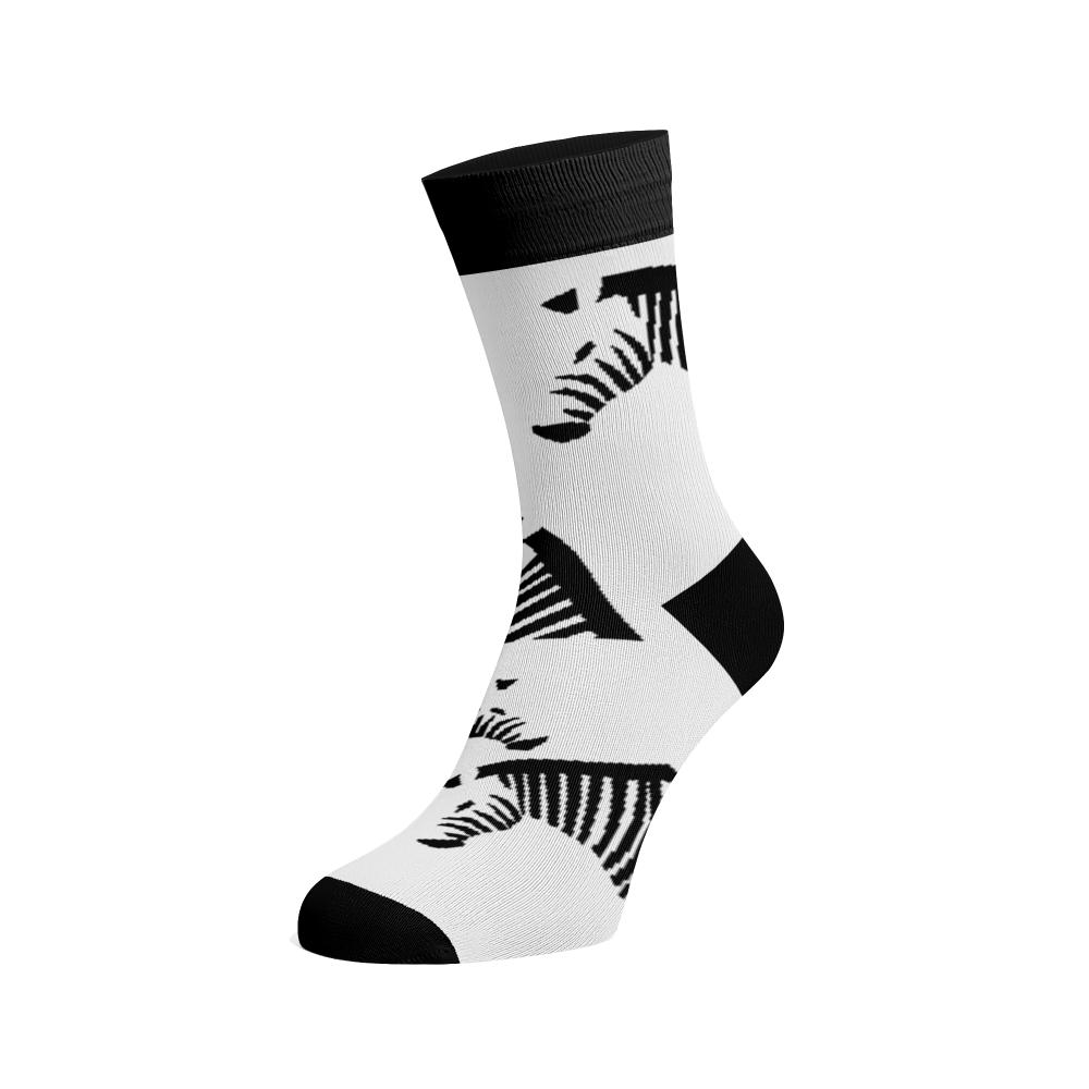 Levně Veselé ponožky Zebry Bílá Bavlna 42-44