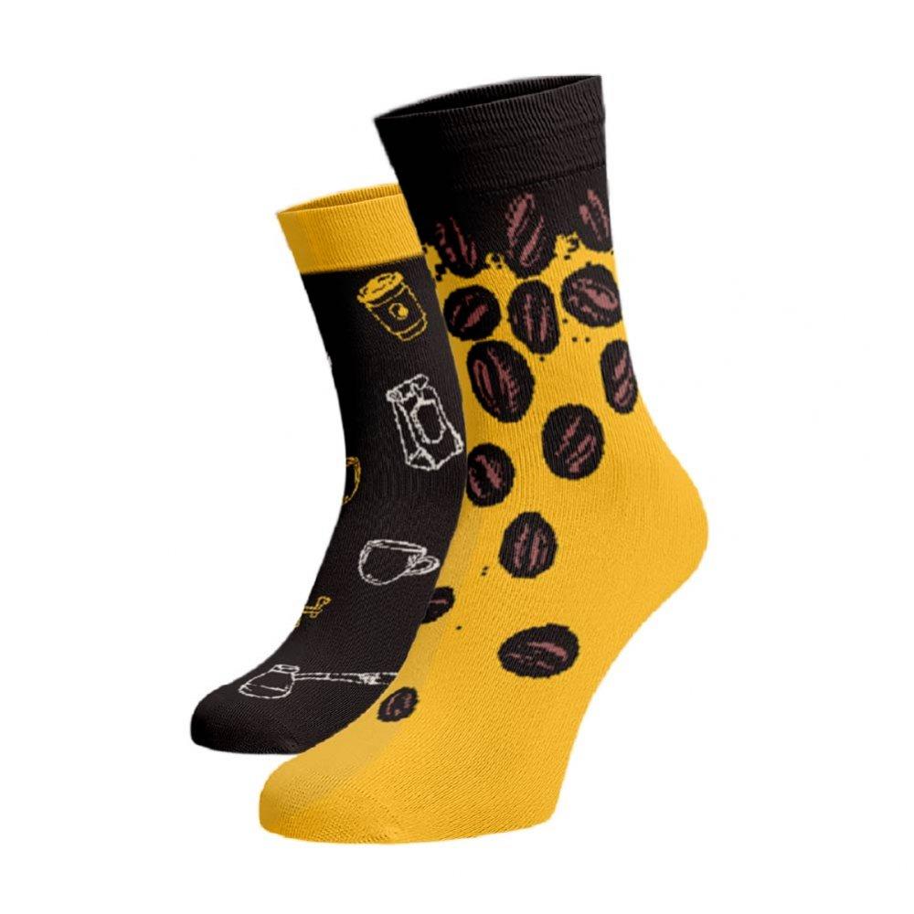 Veselé ponožky Káva Tmavě hnědá Bavlna 35-38