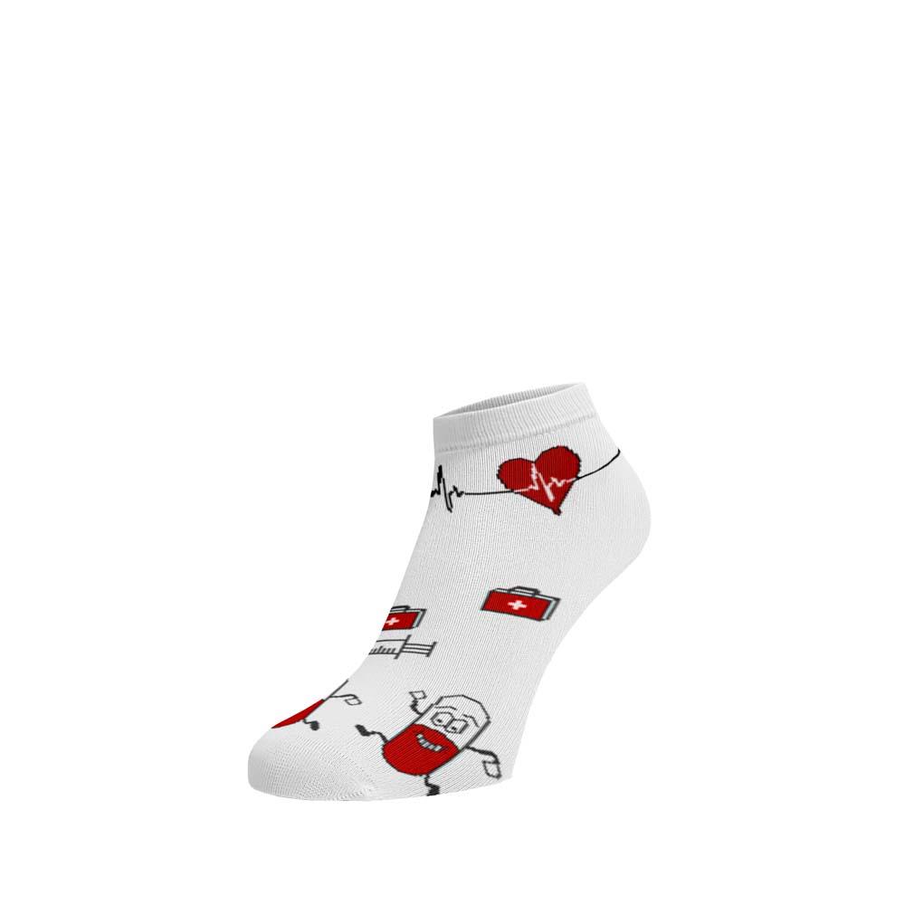 Levně Veselé ponožky Nemocnice kotníkové Bílá 35-38