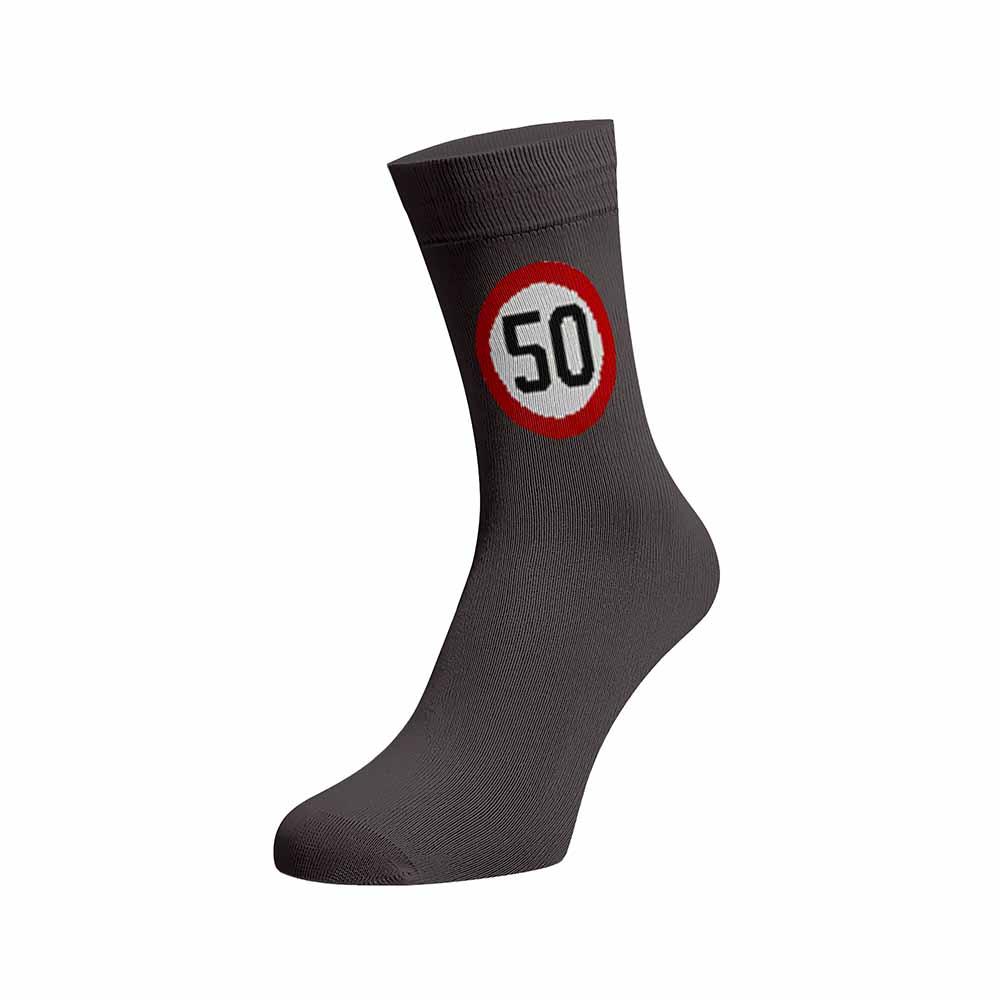 Levně Veselé ponožky Rychlost 50 Tmavě šedá Bavlna 35-38